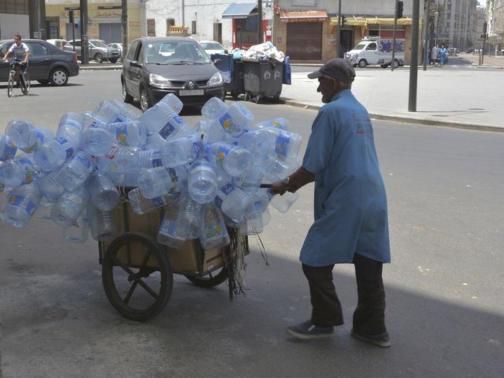 A wastepicker working in the streets of Casablanca.