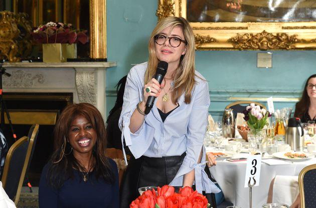 Emma Barnett speaks during Theirworld #RewritingTheCode International Women's Day Breakfast in