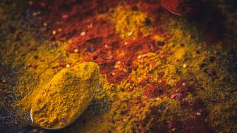 Spice Mix Food with curry powder, turmeric, coriander and  chili