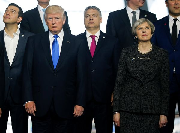 (From left to right) Greek Prime Minister Alexis Tsipras, U.S. President Donald Trump, Hungarian Prime Minister Voktor Orban