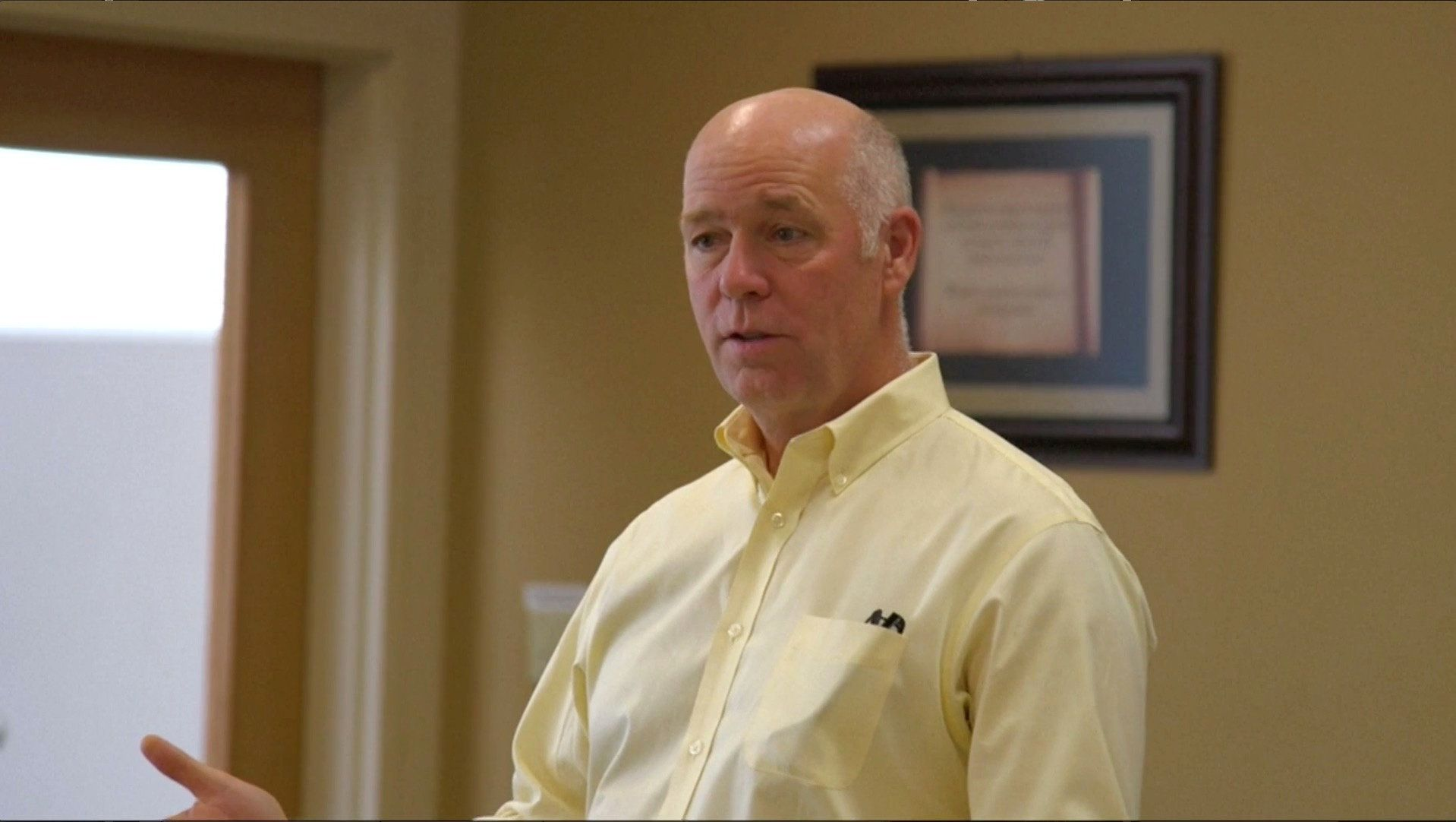 Montana Republican congressional candidate Greg Gianforte speaking to voters while campaigning for a special election in Missoula, Montana, U.S. in this still frame taken from May 24, 2017 video. REUTERS/Justin Mitchell
