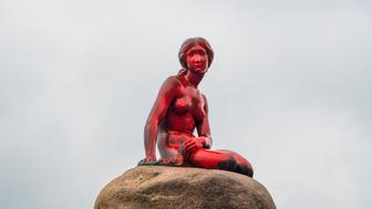 The Little Mermaid statue is seen painted in red in what local authorities say is an act of vandalism, in Copenhagen, Denmark May 30, 2017. Ida Marie Odgaard/Scanpix Denmark/via REUTERS    ATTENTION EDITORS - THIS IMAGE WAS PROVIDED BY A THIRD PARTY. FOR EDITORIAL USE ONLY. DENMARK OUT. NO COMMERCIAL OR EDITORIAL SALES IN DENMARK      TPX IMAGES OF THE DAY