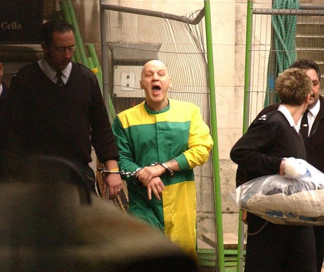 Michael Stone, pictured being led from cells to a prison van, when judges threw out his second appeal...