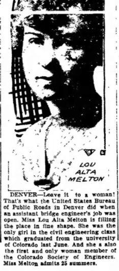 A clipping in the Iowa City Press-Citizen described Lou Alta Melton's unusual hiring as a civil engineer.