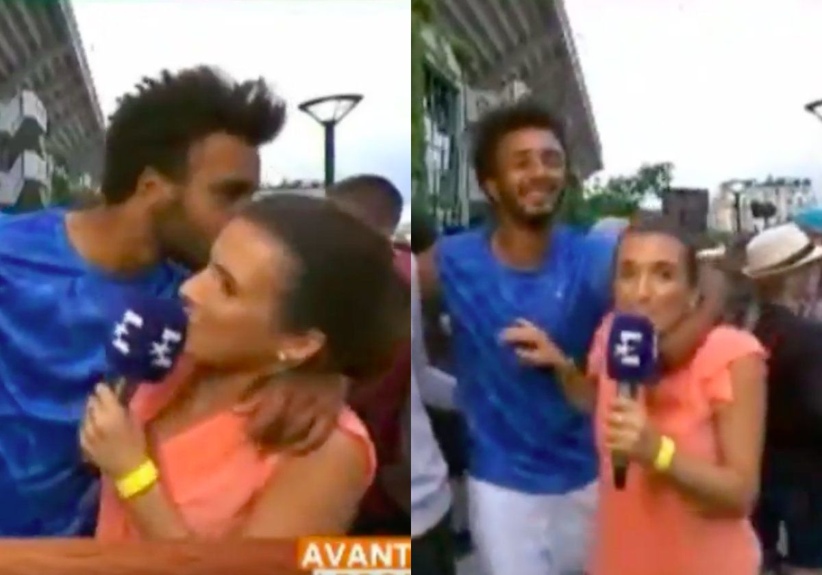 Tennis player Maxime Hamou forcibly grabbing and kissing sports journalist Maly Thomas.