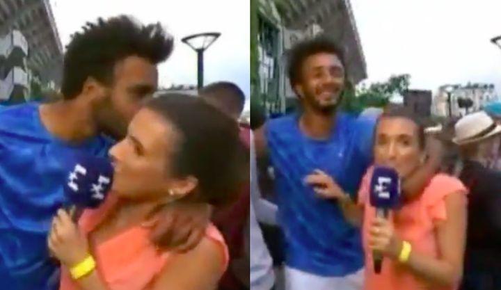 Tennis player Maxime Hamou forcibly grabbingand kissing sports journalist Maly Thomas.