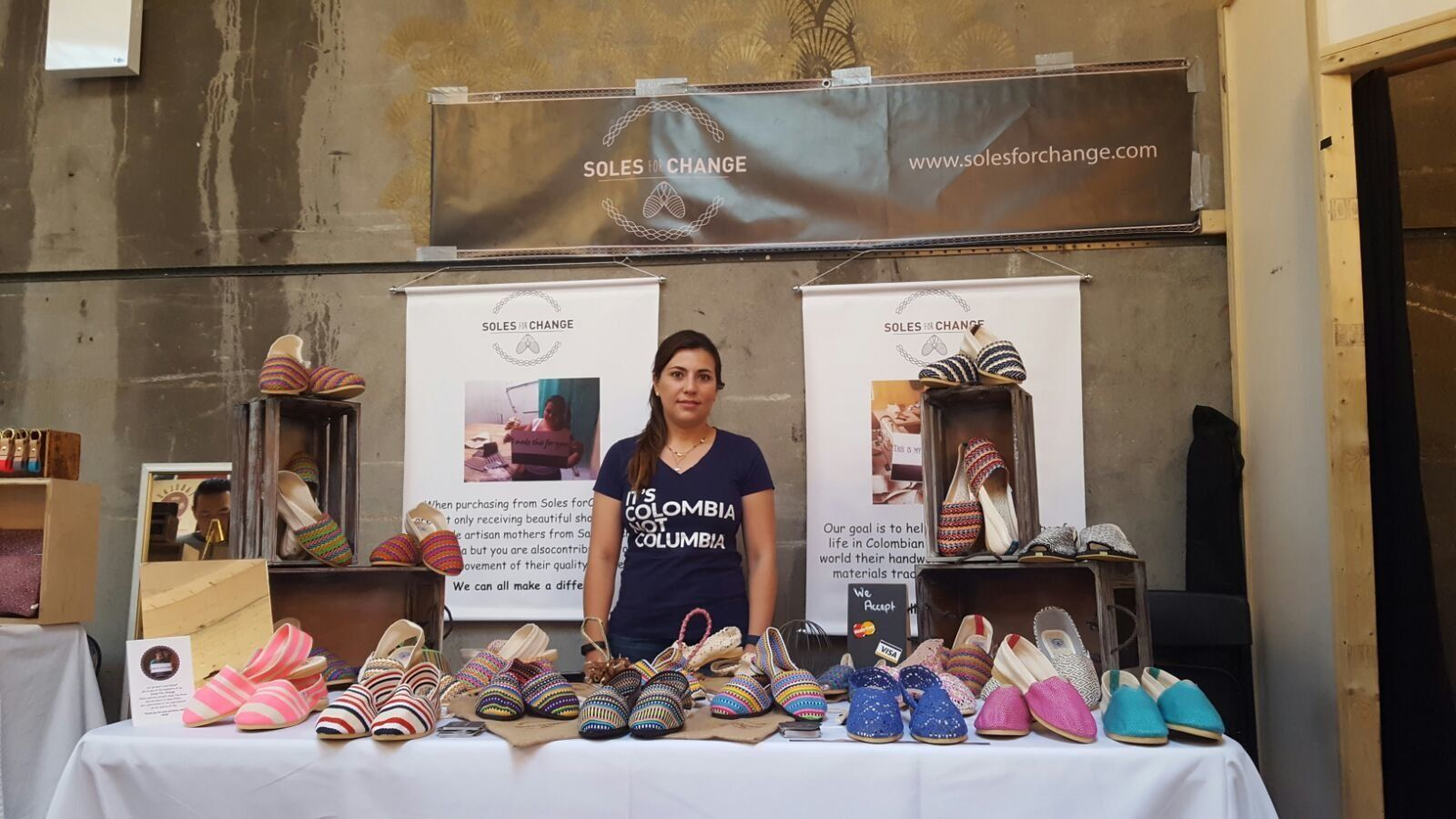 Laura Viveros at a Soles for Change pop-up shop.
