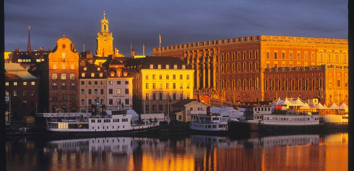 Waterfront view of Sweden's Royal Palace in the Gamla Stan (Old Town) section of Stockholm. The Royal Palace is the official