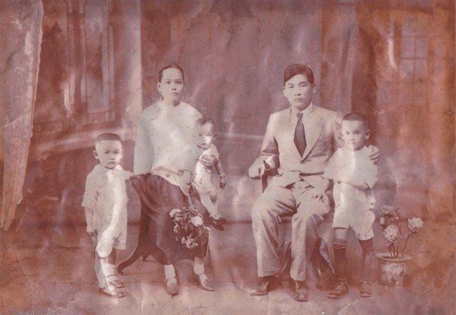 A Lowe Family portrait taken in China around 1929 featuring Samuel Lowe (Lowe Ding Chow), sons Chow Woo, Chow Kong and C