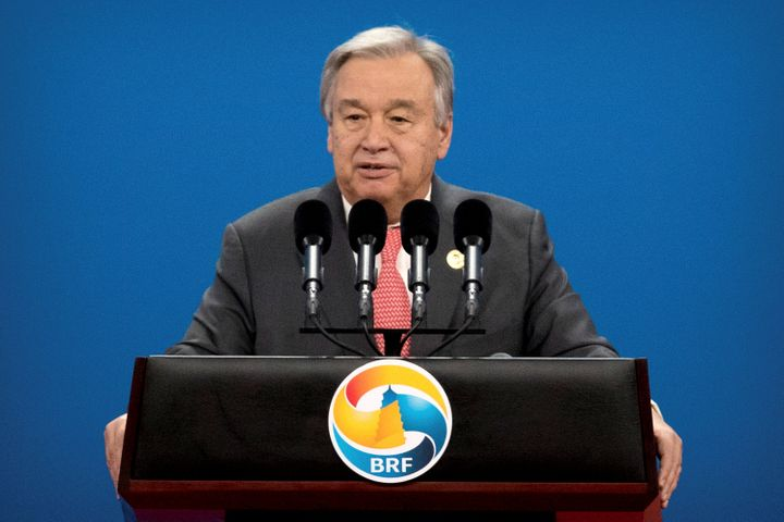 U.N. Secretary-General Antonio Guterres speaks during the opening ceremony of the Belt and Road Forum at the China National C