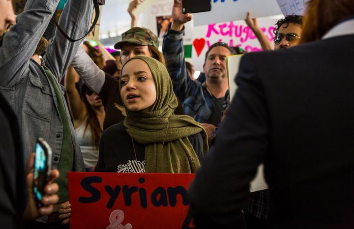 Dalya at the LAX protests against the Muslim ban this past January