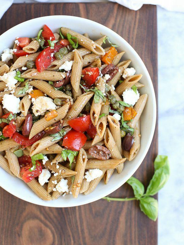 "<strong>Get the <a href=""http://www.foodiecrush.com/greek-pasta-salad/"" target=""_blank"">Whole Wheat Greek Pasta Salad recipe<"