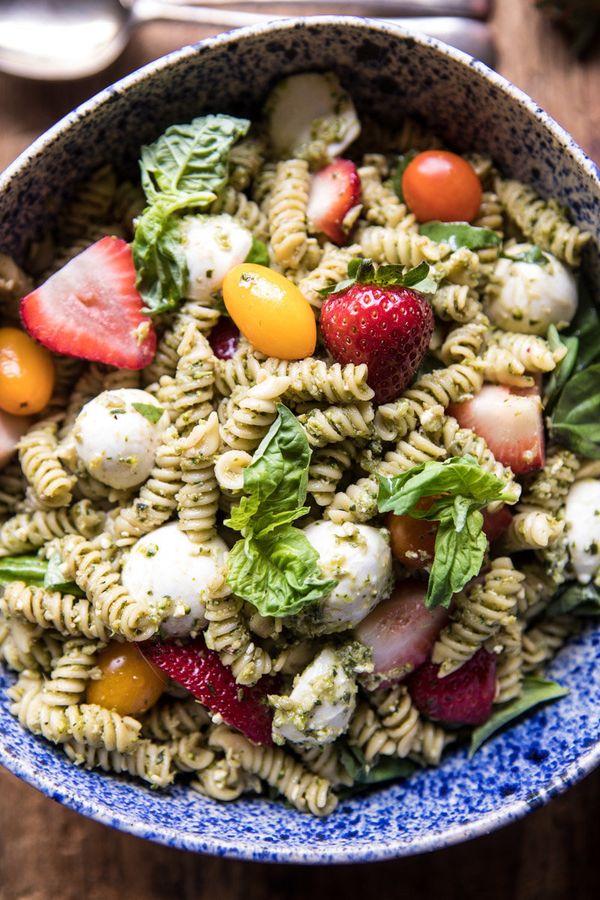 "<strong>Get the <a href=""https://www.halfbakedharvest.com/strawberry-avocado-pesto-pasta-salad/"" target=""_blank"">Strawberry A"