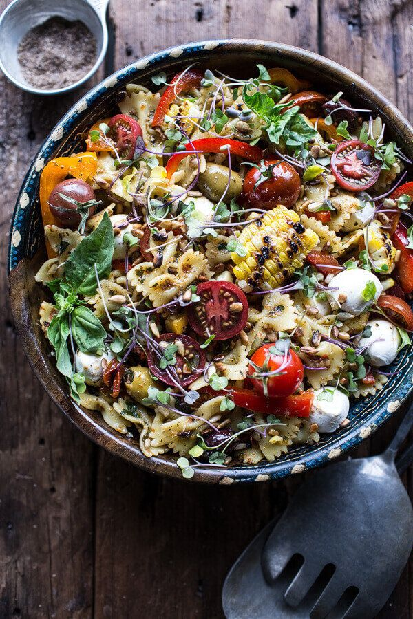 """<strong>Get the <a href=""""https://www.halfbakedharvest.com/everything-but-the-kitchen-sink-pasta-salad/"""" target=""""_blank"""">Every"""