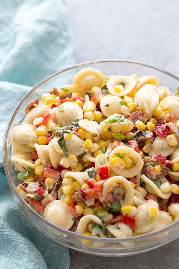 """<strong>Get the <a href=""""http://www.simplyrecipes.com/recipes/pasta_salad_with_corn_bacon_and_buttermilk_ranch_dressing/"""" tar"""