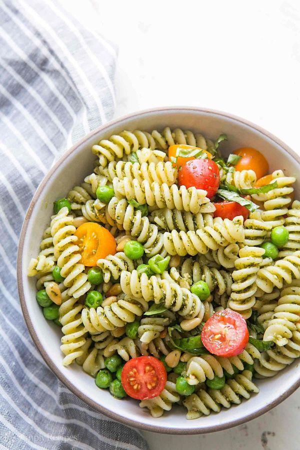 """<strong>Get the <a href=""""http://www.simplyrecipes.com/recipes/pesto_pasta_salad/"""" target=""""_blank"""">Pesto Pasta Salad recipe</a"""
