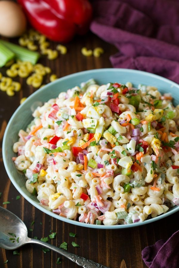 """<strong>Get the <a href=""""http://www.cookingclassy.com/classic-macaroni-salad/"""" target=""""_blank"""">Classic Macaroni Salad recipe<"""