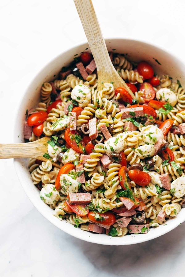 """<strong>Get the <a href=""""http://pinchofyum.com/pasta-salad"""" target=""""_blank"""">Best Easy Italian Pasta Salad recipe</a>fro"""