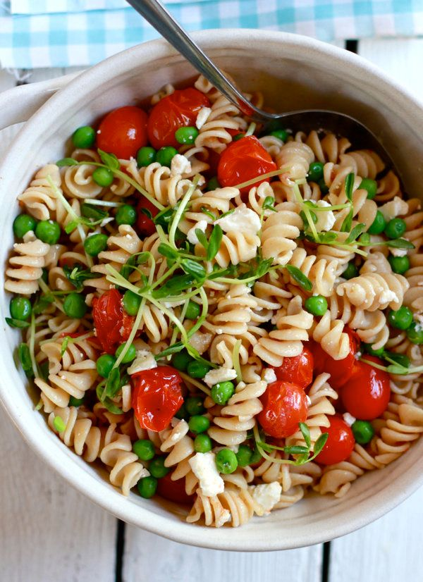 """<strong>Get the <a href=""""http://www.theclevercarrot.com/2013/04/whole-wheat-pasta-salad-with-feta-pea-shoots/"""" target=""""_blank"""