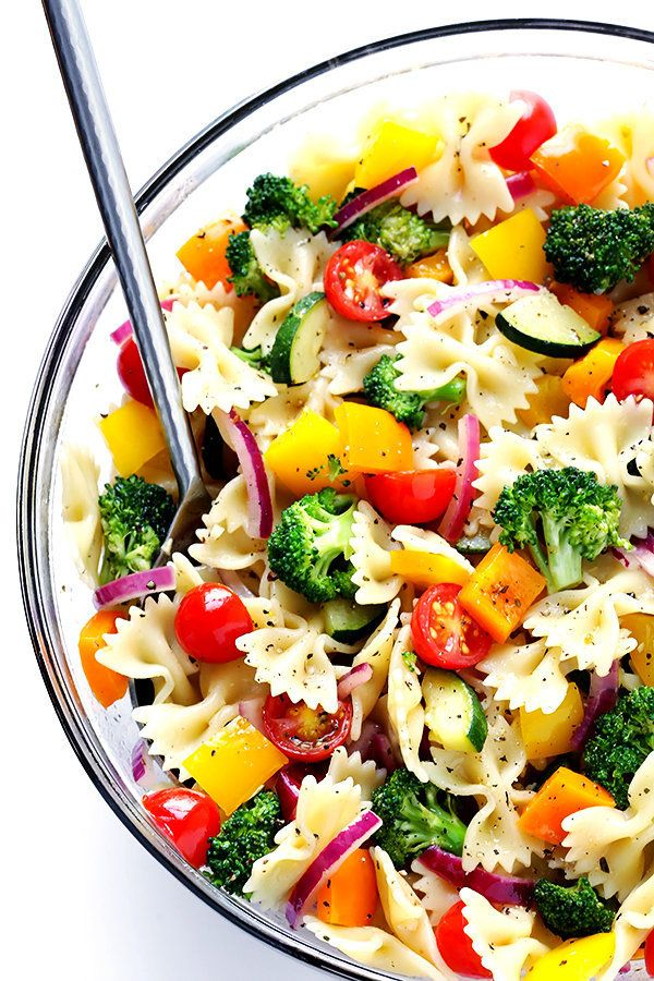 """<strong>Get the <a href=""""https://www.gimmesomeoven.com/veggie-lovers-pasta-salad-recipe/"""" target=""""_blank"""">Veggie Lovers' Past"""