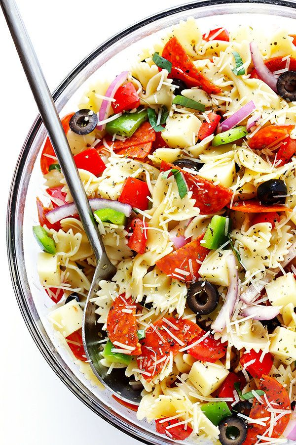 """<strong>Get the <a href=""""https://www.gimmesomeoven.com/pizza-pasta-salad/"""" target=""""_blank"""">Pizza Pasta Salad recipe</a>"""