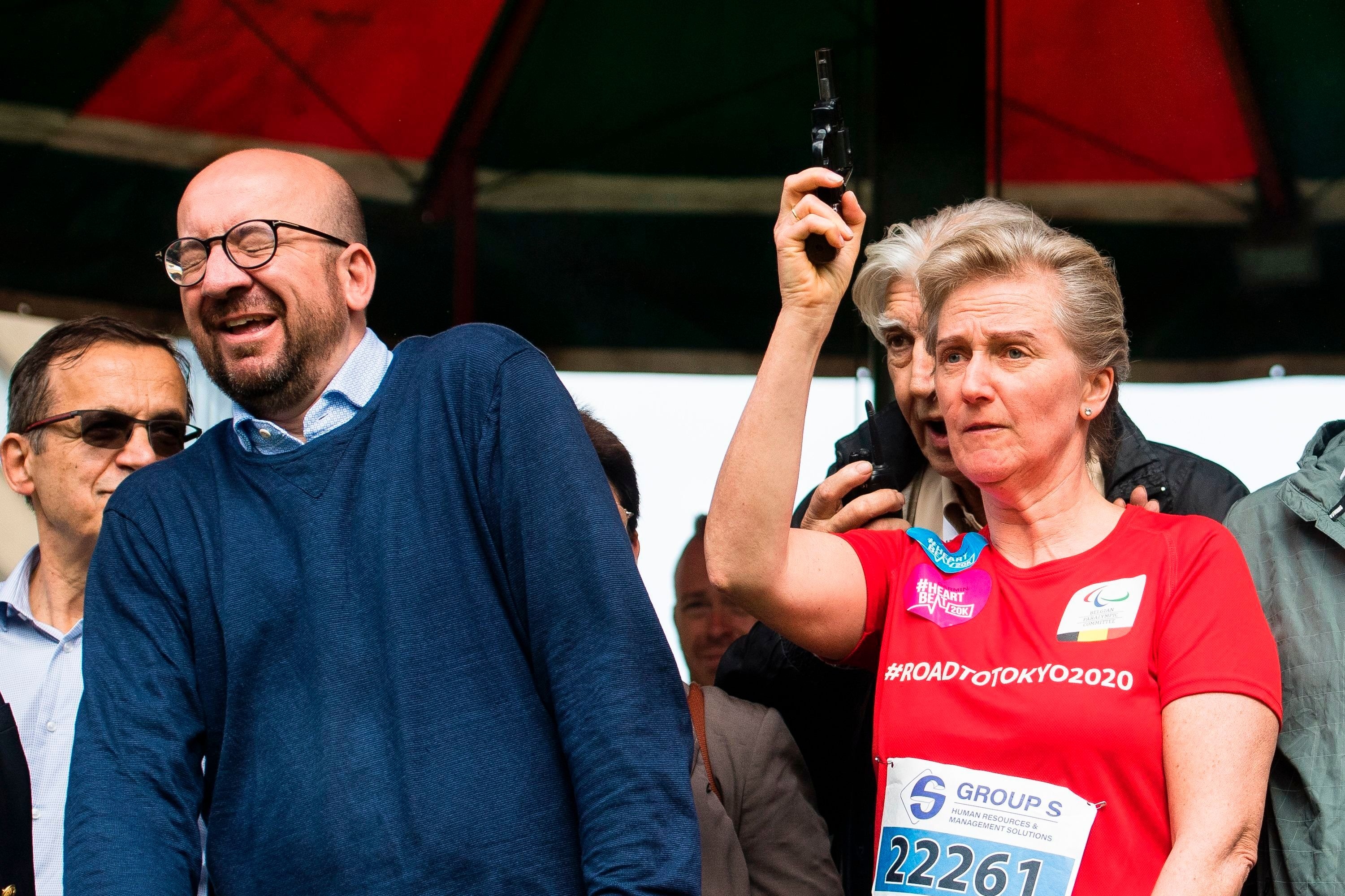 Belgian Prime Minister Charles Michel reacts as Princess Astrid of Belgium gives the start of the 38th edition of the Brussels' 20km run on May 28, 2017, in Brussels. / AFP PHOTO / Belga / LAURIE DIEFFEMBACQ / Belgium OUT        (Photo credit should read LAURIE DIEFFEMBACQ/AFP/Getty Images)