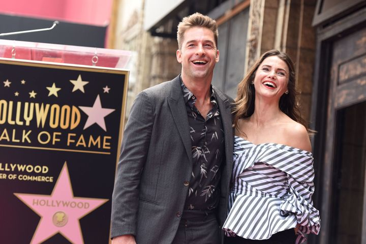 Scott Speedman and Keri Russell make a happy former-onscreen couple at Russell's Hollywood Walk of Fame ceremony.