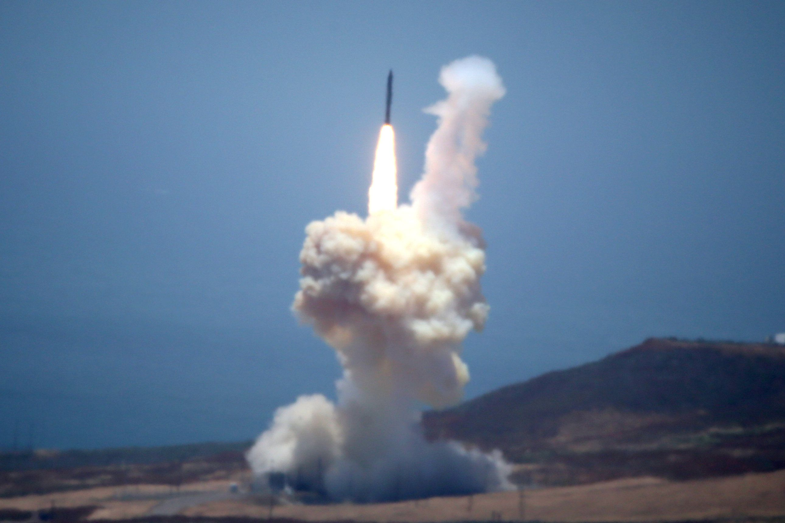 The Ground-based Midcourse Defense (GMD) element of the U.S. ballistic missile defense system launches during a flight test f