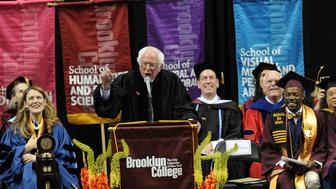 NEW YORK, NY - MAY 30:  United States Senator Bernie Sanders, President Brooklyn College and Michelle J. Anderson attend 2017 Brooklyn College Commencement at Barclays Center of Brooklyn on May 30, 2017 in the Brooklyn borough of New York City.  (Photo by Bobby Bank/WireImage)
