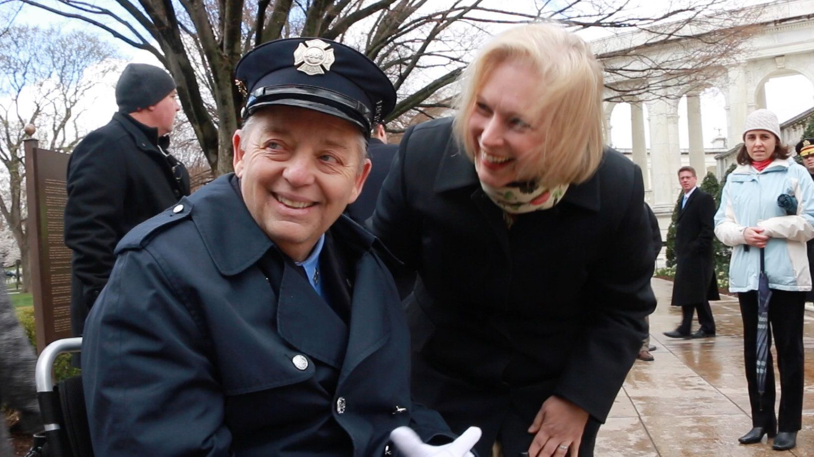 Ailing New York City Firefighter Ray Pfeifer shared a lighter moment with Sen Kirsten Gillibrand before he laid a wreath at the Tomb of the Unknowns two months before he died