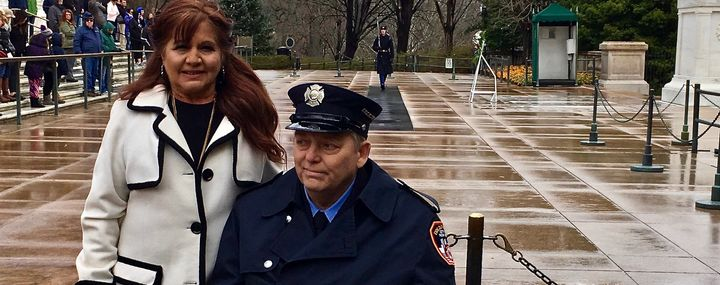Ray Pfeifer and his wife, Caryn, at the Arlington National Cemetery.