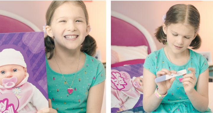Two scenes from the Save The Children video, showing a young girl's shock at finding a pregnancy test instead of a doll