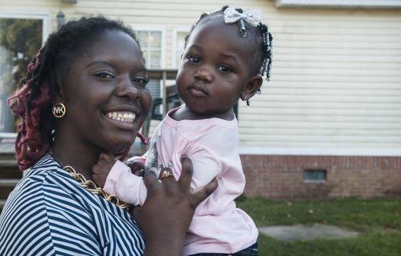 Kadajah, 17, with her 17-month-old daughter, Ivori, in South Carolina.