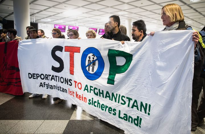 People take part in a demonstration against the deportation of some 50 Afghan refugees from the Munich airport on Feb. 22.