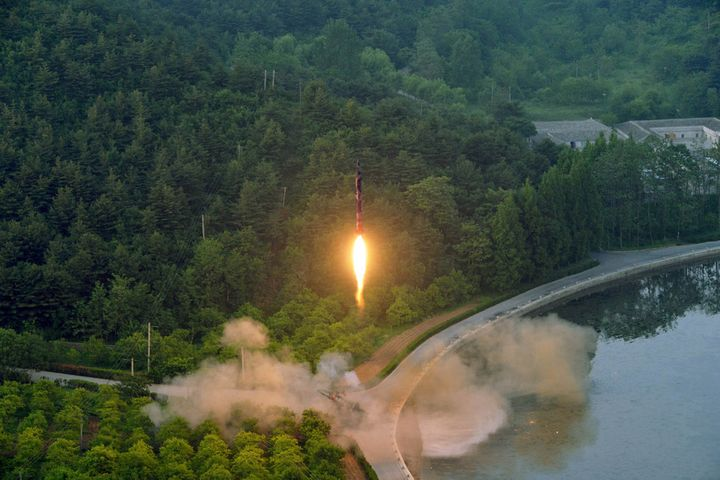 An unverified photo of the ballistic rocket test-fired on May 30 released by North Korea's Korean Central News Agency.