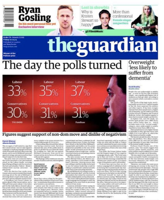 'The day the polls turned': How the Guardian reported Labour edging ahead in