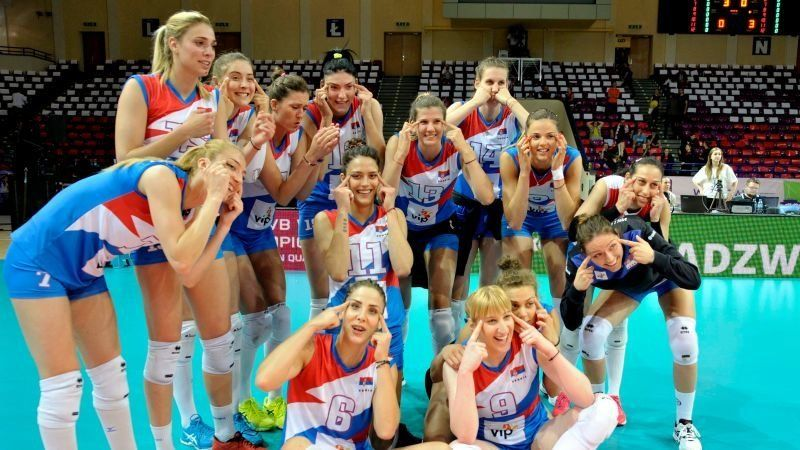The Serbian women's volleyball team after their win against Poland.