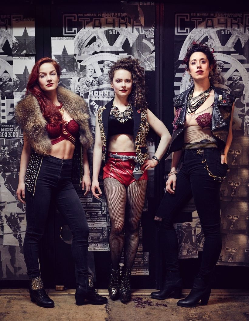 'Pussy Power' Performers Lauren Zakrin, Cathryn Wake, and Mary Page Nance from <em>Natasha, Pierre, & the Great Comet of
