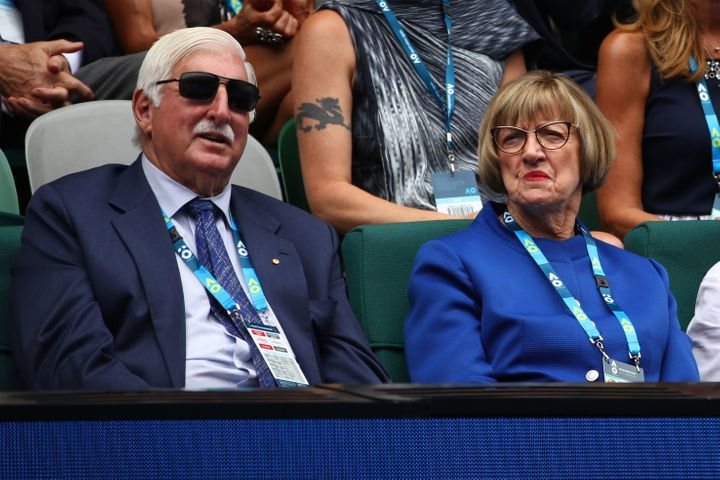 Margaret Court with her husband, Barrymore Court, at the Australian Open in January.