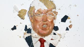 Santa Fe, NM, USA - October 20, 2016: Artist Kim Crowley's sculptural rendition of Donald Trump disintegrating. White background with copy space. Shot in the artist's studio.