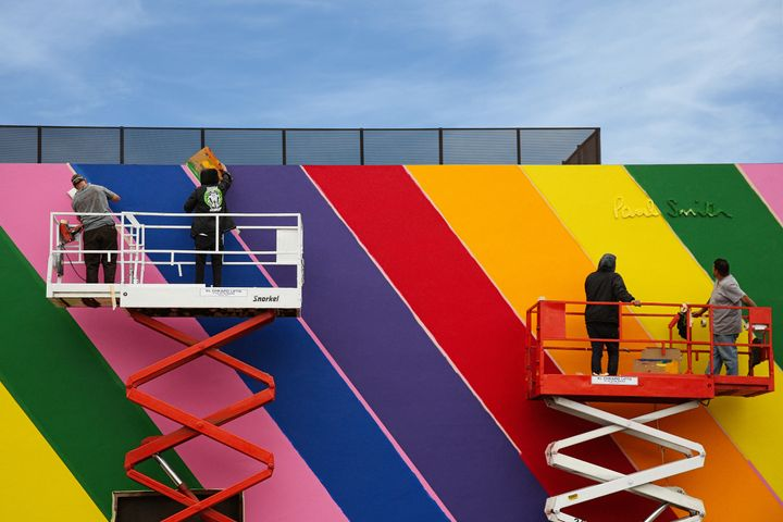 The iconic pink facade of Paul Smith's Los Angeles store got a rainbow makeover Wednesday.
