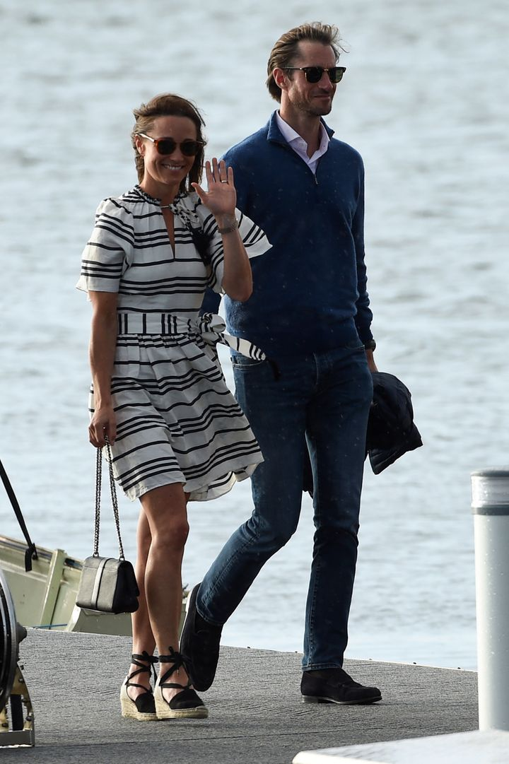 Pippa Middleton and her husband James Matthews arrive at Rose Bay Wharf by sea plane in Sydney on May 31, 2017. Pippa and Mat