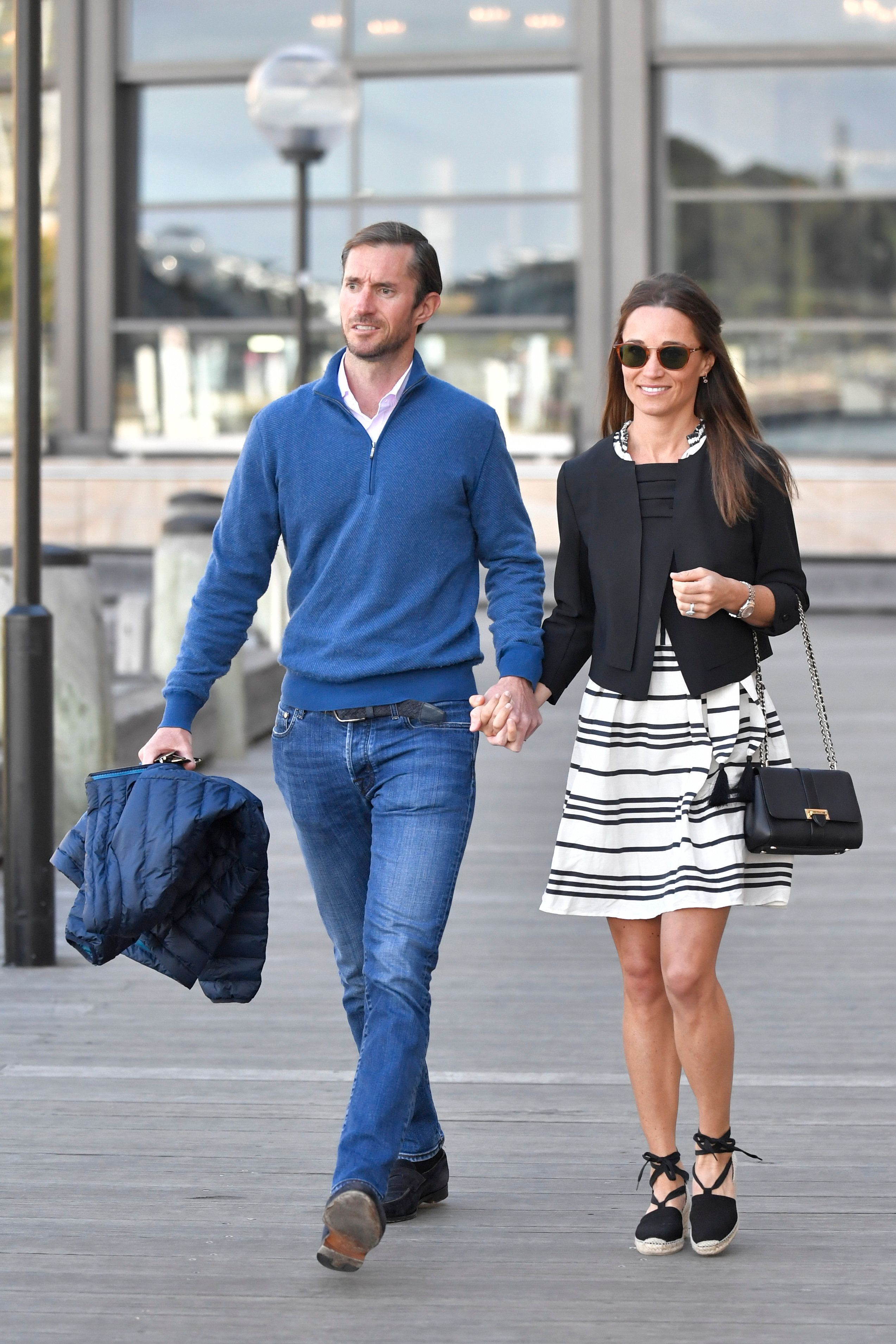 Pippa Middleton and new husband James Matthews are seen getting on a water taxi in Sydney harbour during their honeymoon