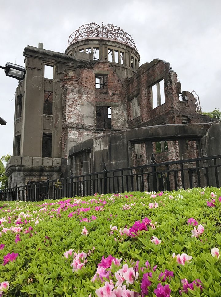 The A-Bomb Dome across the river from the Peace Museum in Hiroshima is a grim reminder of the devastation of nuclear war. The