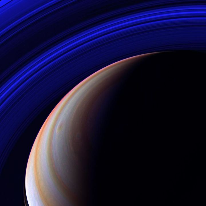 Viewing Saturn through different colored filters, Cassini created this psychedelic composition.