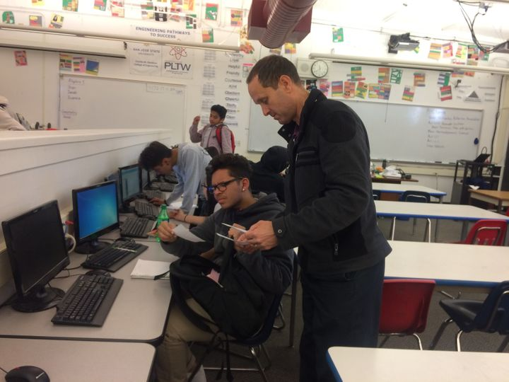 Bob Capriles, who was a STEM teaching award, teaches math and engineering at Fremont High in Sunnyvale.