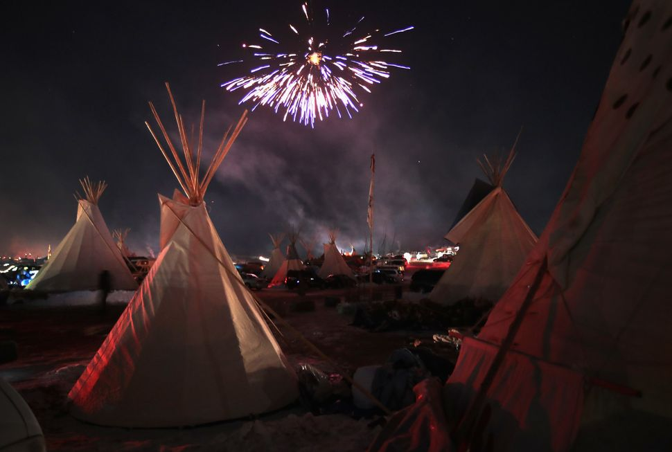 Fireworks fill the night sky following the closure of the Dakota Access project.