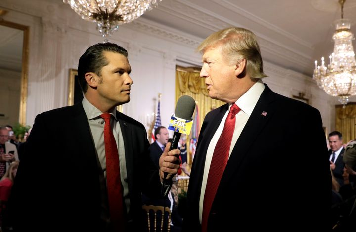 President Donald Trump is interviewed by Pete Hegseth of Fox News at the White House last month.
