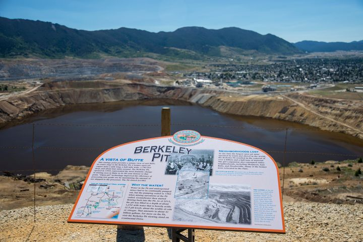 The Berkeley Pit is one of the largest Superfund sites. It is a mile-long toxic lake of heavy metals and contaminated wa