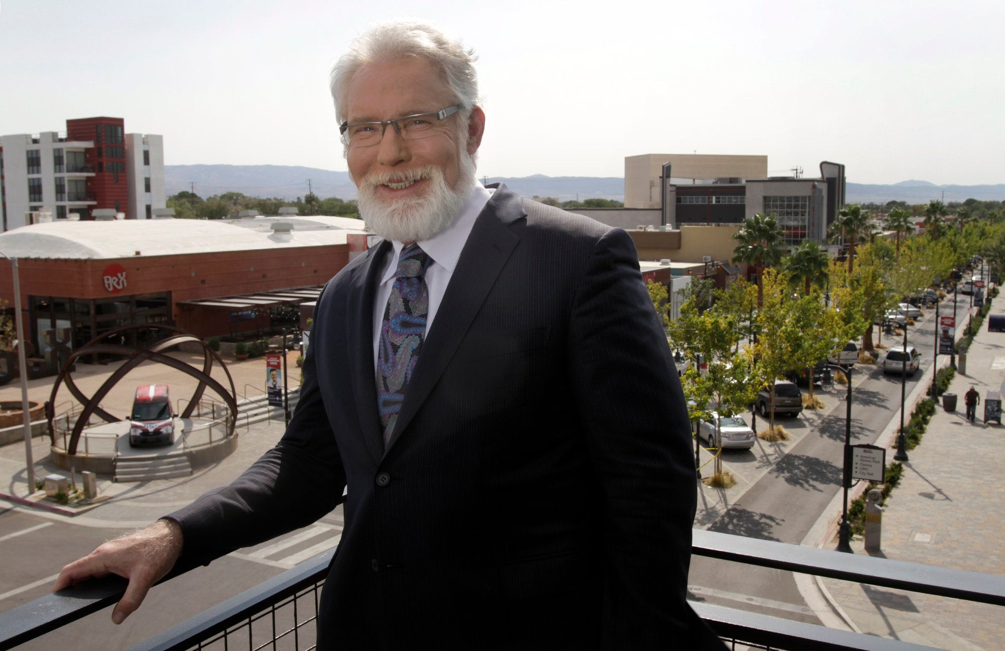 LANCASTER, CA SEP. 11, 2013. Mayor of Lancaster, R. Rex Parris on  the top level of the Lancaster Museum of Art and History overlooking West Lancaster Blvd., the main drag of the city on Sep. 11, 2013. Mayor of Lancaster, Rex Parris, and his efforts to bring in Chinese businesses to the city.  (Photo by Lawrence K. Ho/Los Angeles Times via Getty Images)